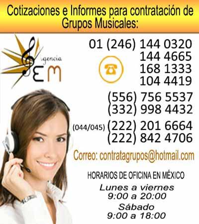 Telefonos para contratacion de grupos musicales